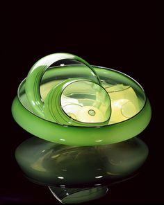 Surf Green Basket Set with Shadow Lip Wraps by Dale Chihuly