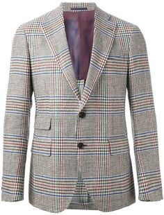 $672, Grey Plaid Blazer: Lardini Checked Blazer. Sold by farfetch.com. Click for more info: https://lookastic.com/men/shop_items/291533/redirect