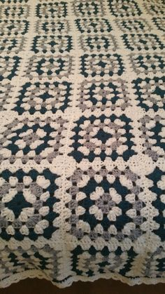 Vintage Afghan   granny square blanket  unique blue white and grey L;95 W:60 ins…