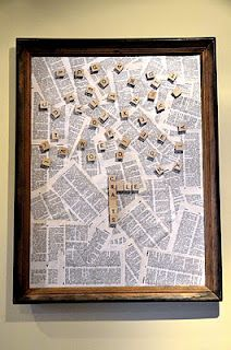 Sheet medal + old picture frame + scrabble pieces + magnets = Scrabble Wall Art! :)