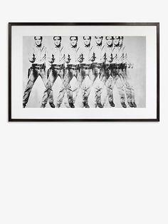 Andy Warhol - 'Eight Elvises' Wood Framed Print, 66.9 x 102.6cm, Black/White