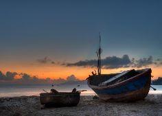 Łodzie, Plaża, Woda, Zachód słońca