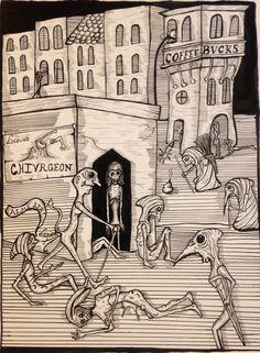 plague town-pen and ink-cmeisterartz 2016