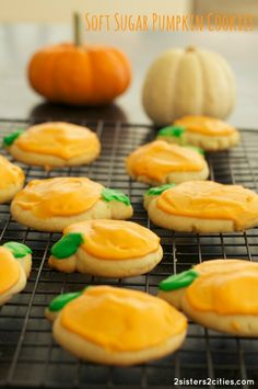 Soft Pumpkin Sugar Cookies with Buttercream Frosting
