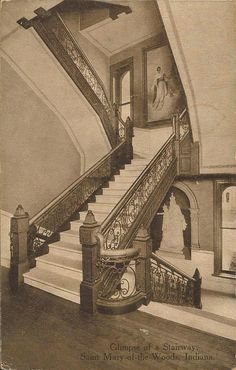 Saint Mary-of-the-Woods, IN - Glimpse of a Stairway - Postcard - Postmarked 1915.