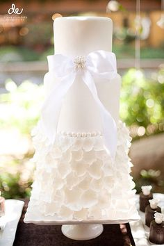 Simple all white wedding cake