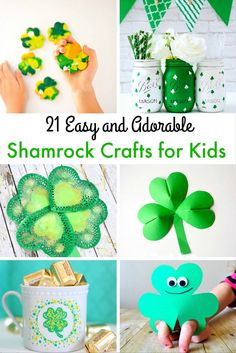 21 easy and adorable shamrock crafts for kids St Patricks Day Crafts For Kids, Holiday Crafts For Kids, Crafts For Kids To Make, Valentines For Kids, Fun Crafts, Arts And Crafts, Holiday Ideas, Kids Wood, Living At Home