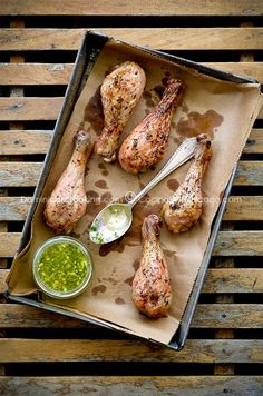 // Roasted Chicken with Green Garlic Sauce