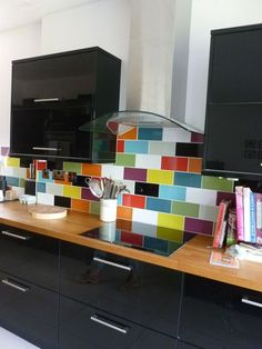 34 Upgrade Your Kitchen With These Unique Backsplash Ideas - frsid. Colourful Kitchen Tiles, Kitchen Tiles Design, Kitchen Wall Tiles, Kitchen Colors, Kitchen Backsplash, Backsplash Ideas, Kitchen Mosaic, Kitchen Interior, New Kitchen