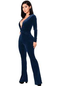a8b8f07b132 Long Sleeve Ruched Deep V Neck Velvet Jumpsuit Jumpsuit   Rompers Women  Clothes Sexy Lingeire
