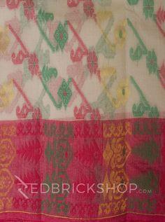 DHAKAI GEOMETRIC OFF WHITE-RED-GREEN MUSLIN SAREE     Rs 2971