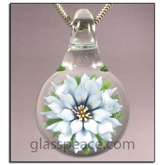 Valentine's Gift - Blue Glass Flower Pendant by Glass Peace $20.95
