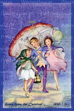 Rene Cloke: Home from the Carnival - Fairies & Toadstool Parasol - PC in Collectables, Postcards, Artist Signed Kobold, Vintage Fairies, Vintage Art, Beautiful Fairies, Flower Fairies, Fairy Art, Children's Book Illustration, Book Illustrations, Magical Creatures