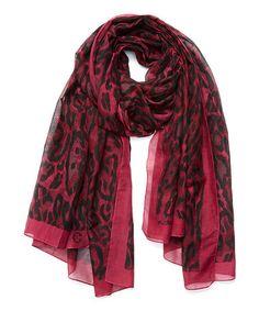 Look what I found on #zulily! Oxblood Leopard Silk-Blend Scarf #zulilyfinds