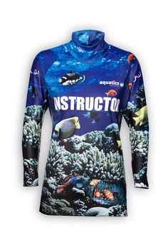 e0026141b244f sublimated instructor rash top  pool tee long sleeve. Printed all over with  tropical fish