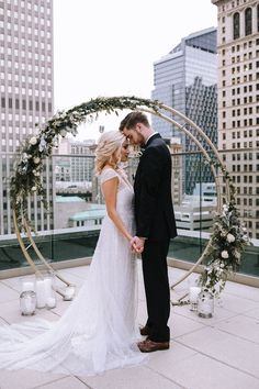 Rooftop Wedding Day Bridal Portraits: Blue & Gold Literary Inspired Wedding Styled Shoot from Kaitlin Powell Photography and Exhale Events featured on Burgh Brides