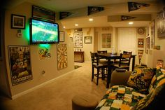 Packer Man Cave Signs : Green bay packer room such a huge nice man cave rustic