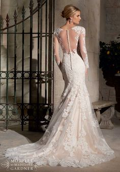 2725 Bridal Gowns / Dresses Majestic Embroidered Appliques Combined with Chantilly Lace on Net with Wide Hemline- available at Hope's Bridal