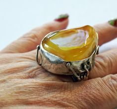 GIANT AMBER RING Sterling silver Ring Holiday Gift by ANTIQUE4YOU