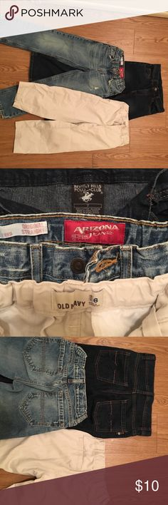 Bundle of 3 boy's size 6-7 pants Bundle of one dark wash polo jeans, one light wash Arizona jeans, and one Old Navy tan pants. U.S. Polo Assn. Bottoms