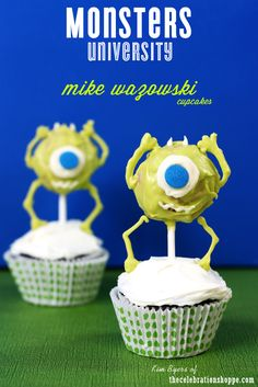 Monsters University - Make your own Mike Wazowski Cupcakes - the perfect dessert for your Halloween party!