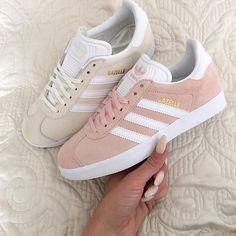 "Today our #KickzOfTheDay Adidas Gazelle ""Vapour Pink"" & ""Off White"" ----- Inspired by @dresslikemila 