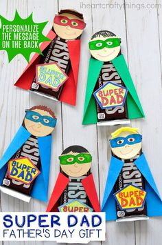 Dad will feel special with this this unique and fun Super Dad Father's Day Gift. Fun kid-made Father's Day gift and Father's Day craft for kids. perfect fathers day gift, diy gifts for fathers day, step fathers day gifts Diy Father's Day Gifts, Father's Day Diy, Craft Gifts, Children's Day Gift, Diy Gifts For Dad, Dad Gifts, Craft Items, Fathers Day Art, Fathers Day Crafts