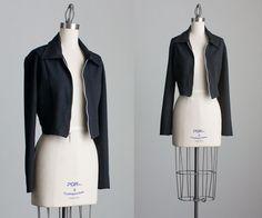 90s Vintage Black Cropped Zip Jacket / Small / Medium by decades, $32.00