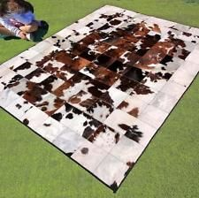 New Patchwork Cowhide Area Rug Leather Carpet Mad Cow Town Hide Animal Skin Picnic Blanket, Outdoor Blanket, Cow Hide Rug, Vegan Leather, Area Rugs, Carpet, Mad, Animals, Farmhouse Rugs