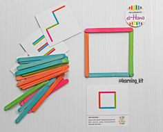 Sticks shaping : arrange the color popsicle sticks to the pattern & colour on the card Games For Kids, Games To Play, Uppercase And Lowercase, Busy Bags, Picture Cards, Popsicle Sticks, Popsicles, 6 Years, Kids Toys