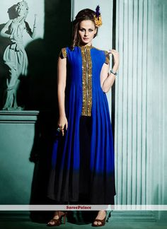 Arresting Blue Gold Zardosi Work Faux Georgette Designer Kurti