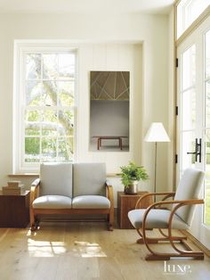 Transitional White Seating Area with Recessed Window Sill | LuxeSource | Luxe Magazine - The Luxury Home Redefined