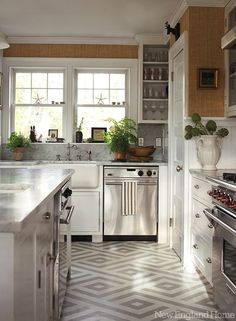 New England Home: Gorgeous kitchen featuring Ralph Lauren Home's Sudan Weave wallpaper. This U-shaped ...
