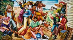 In his 1942 mural The Underground Railroad, Woodruff shows slaves about to cross the Ohio River to freedom. African American Museum, African American Artist, American Artists, Chicago Cultural Center, Rest, Underground Railroad, Art Moderne, Mural Painting, Art Paintings