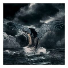 An angel in the ocean - Fantasy Art Poster Dark Angels, Fallen Angels, Male Fallen Angel, Angels Among Us, Angels And Demons, Angel Prayers, Ange Demon, Heaven And Hell, Gothic Art