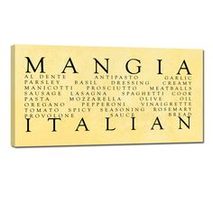 Great gift for the Italian Kitchen … Mangia , Ready to Hang wall word art home decor. Yellow Kitchen Decor, Kitchen Decor Themes, Farmhouse Kitchen Decor, Kitchen Ideas, Kitchen Design, Red Kitchen, Kitchen Redo, Kitchen Canvas, Kitchen Wall Art