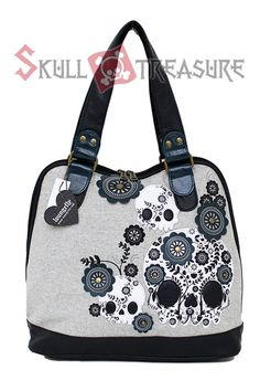 Sugar Skull with Turquoise Flowers Tweed Shoulder Bag Loungefly at Cutesense.com