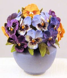 Flower arrangement - pansies - $235.00 : S P MINIATURES - hand crafted dollhouse scale miniatures, S P MINIATURES - shop online for dollhouse scale miniatures