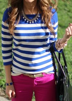 Raspberry jeans, blue and white stripes sweater.
