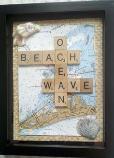 Shadow box idea with beach scrabble and map.