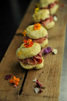 Chef Brandon Frohne's award winning biscuits at the 2012 International Biscuit Festival.  Appalachian Peach Cathead Biscuits w/ Lavender Blackberry Jam, Smoked Country Ham, & Peach Syrup.