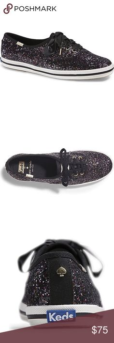 Kate Spade NY ♠️KEDS CHAMPION GLITTER. Keds for Kate spade ny  Beautiful glitter shoes  Color is BLACK MULTI  Ribbon laces   Flaws(shown in pics )  - little creases not bad  - left shoe at the end there is some lose thread  👉🏼Please ask any questions prior to purchasing ✨Open to reasonable offers ✨ kate spade Shoes Sneakers
