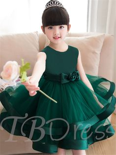 Straps Flowers Bowknot Girls Party Dress