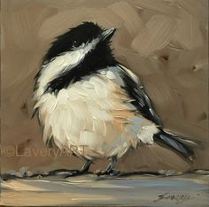 "4x4"" oil on panel chickadee art Etsy.com/shop/LaveryART"