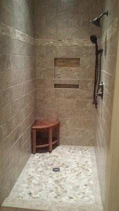 Sliced Java Tan and White Pebble Tile | Rustic Ski - Bathroom ... on