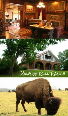 """The Pawnee Bill Ranch and Museum in Pawnee, Oklahoma was the home of world renowned Wild West Show entertainer Gordon W. """"Pawnee Bill"""" Lillie. A 14-room mansion, 1903 log cabin, blacksmith shop, 1926 barn and Indian Flower Shrine are all on site. The 500 acre grounds are also home to a herd of bison."""