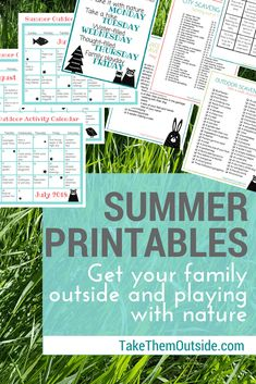 Make getting your kids outside easier this summer with this summer printable package.  You'll get activity calendars, nature scavenger hunts, outdoor games, and a weekly nature play schedule.  | nature play planner | #printable #summerfun #summercalendar #getoutside #activityideas