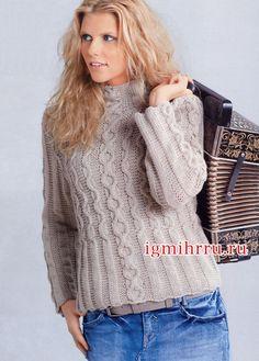 Теплый пуловер кремового цвета с «косами». Вязание спицами