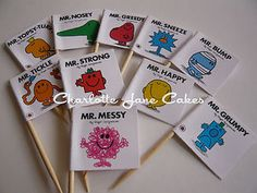 20 CUPCAKE FLAGS / TOPPERS - MR MEN RETRO CHILDRENS BIRTHDAY PARTY DECORATIONS   eBay