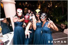 The Superhero masks are too fun! These bridesmaids are a blast!   Balboa Park Wedding, Photography by Bauman Photographers  View More: http://baumanphotographers.com/blog/weddings/2015/10/gabe-emylou-the-prado-wedding/